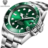 LIGE Fashion Sports Men Mechanical Watch For Men Business Automatic Clock Diving Date Stainless Steel Waterproof 100M Wristwatch