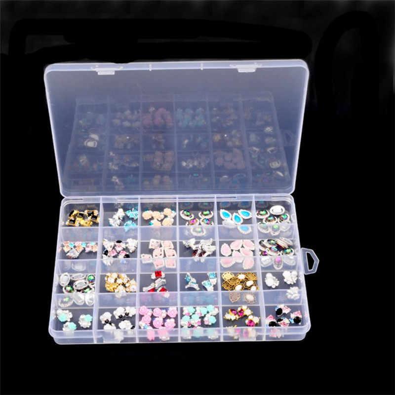 24 חריצי תכשיטים שקוף עגילי נייל קישוט חרוזים מחזיק מקרה ארגן ברור שולחן שולחן טבליות מקרי # Ju