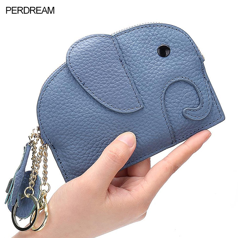 Thin Personality Fashion Mini Coin Bag Soft Leather Female Cute Coin Purse Leather Creative Baby Elephant