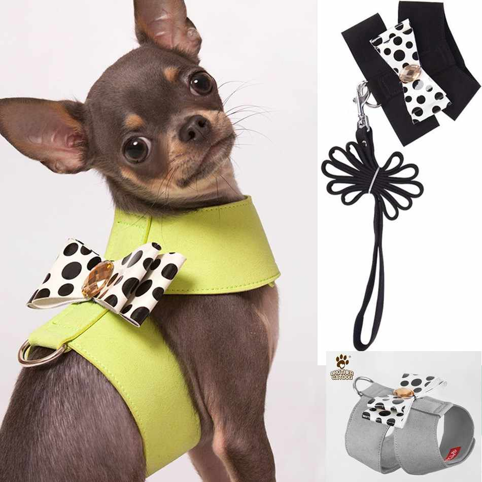 Pet Dog Harness for Dogs Puppy Chihuahua Yorkie Cat Soft Suede Leather Small Cute Pet Harness with Leash Vest Bow Shop Products