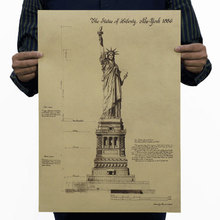 Statue of liberty Poster nostalgia retro vintage kraft paper painting drawing bar Cultural centers library decoration