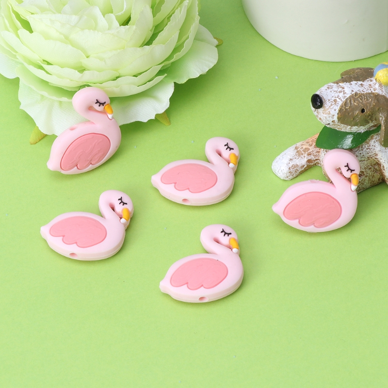 Silicone Beads Flamingo Cute Funny DIY Jewelry Making Baby Teether Toys Teething DXAD