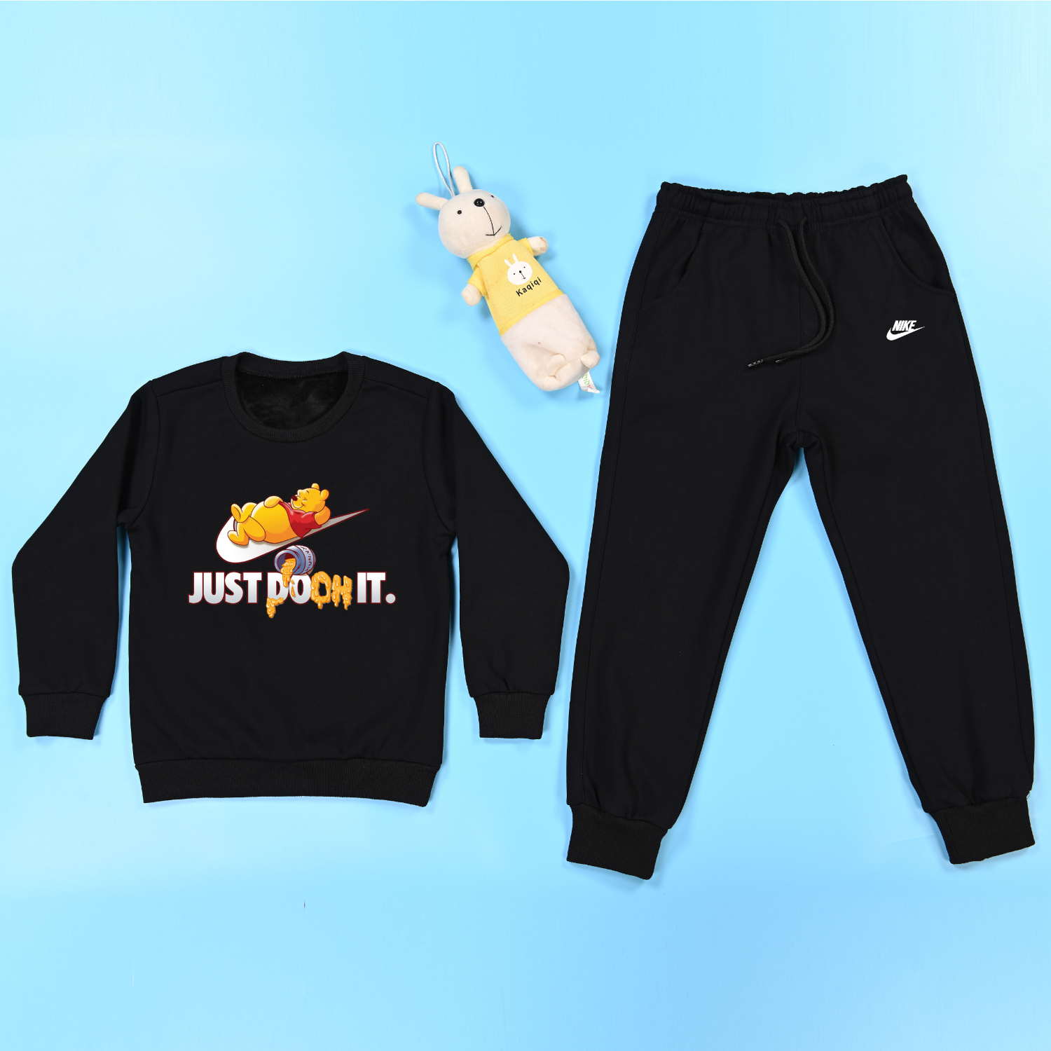 Nike Fleece Children Sports Clothing Sets Kids Cartoon Pooh Warm Tracksuits Infant Outfit Kids 2pcs/Set