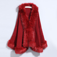 Elegant Women Knit Loose Cardigans Autumn Winter Solid Color Knitted Faux fur trim womens capes and poncho femme Shawl