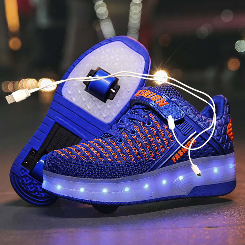 Two White LED usb charging roller shoes Blue Pink light up luminous sneakers with wheels kids rollers skate shoes for boy girls