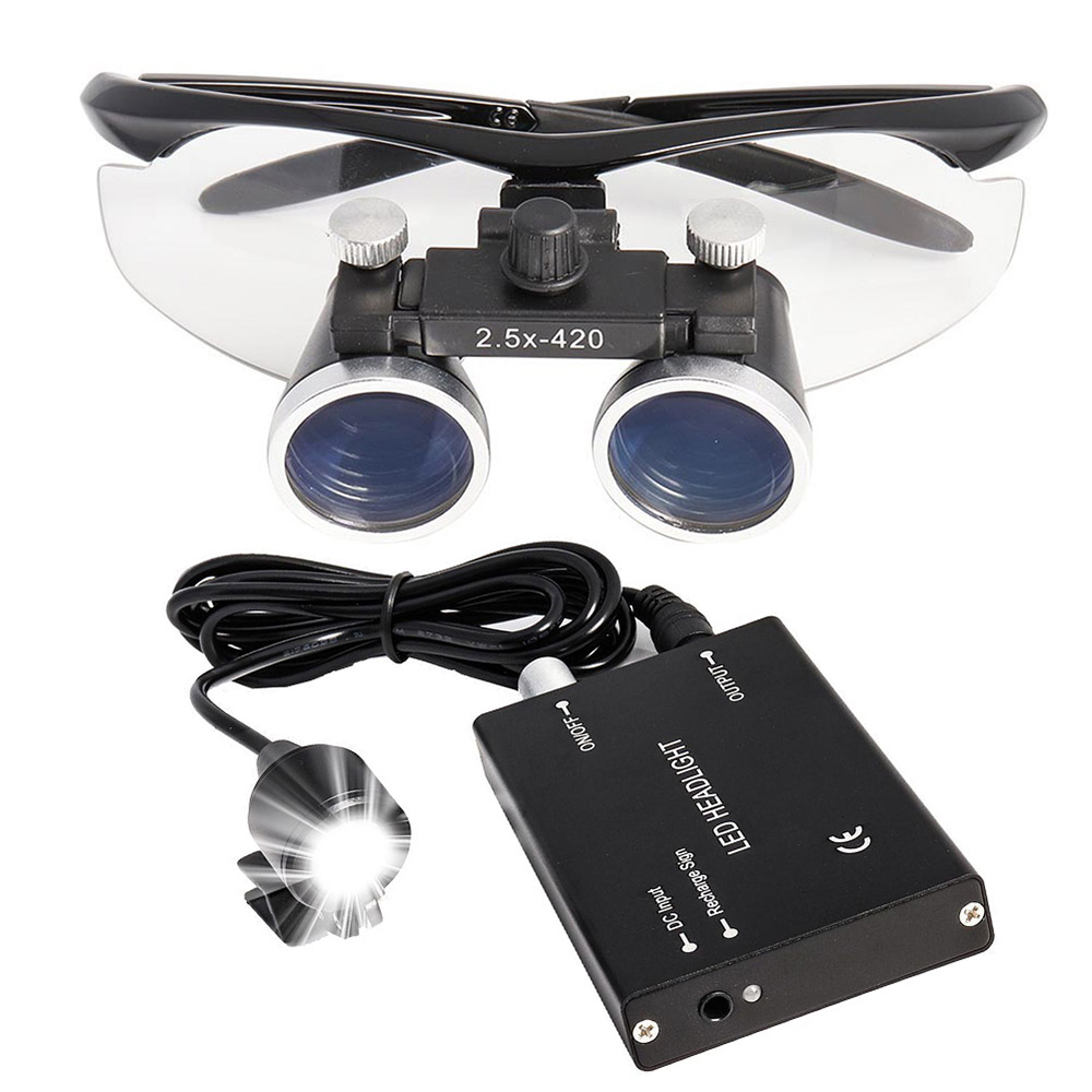2.5X/3.5X Dental Loupe With Headlight Dental Lab Medical Loupe Magnification Binocular Dental Magnifier Surgical Magnifier