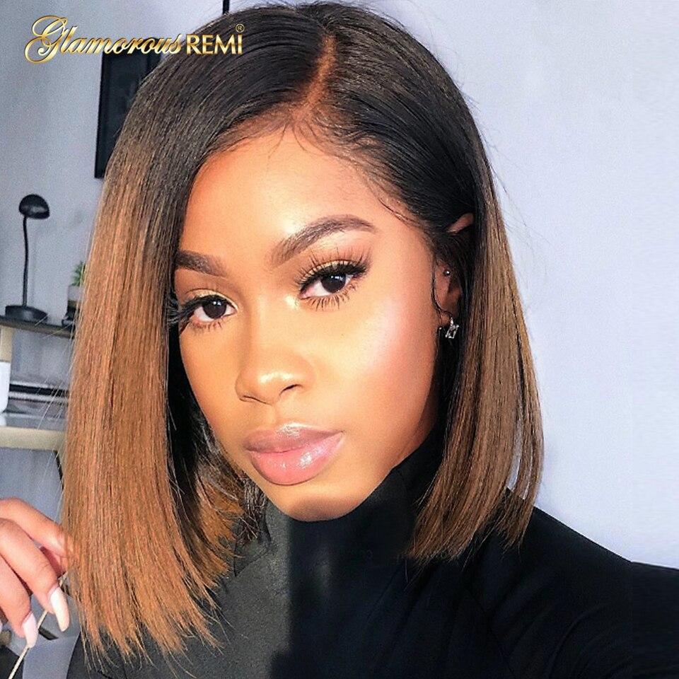 1b 30 ombre marrom frente do laço perucas de cabelo humano para preto feminino 100% remy do cabelo humano peruca frontal do laço curto bob peruca 13*4 preplucked