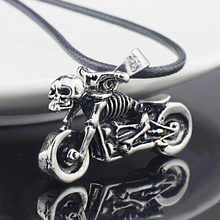 Männlichen Gothic Punk Skeleton Motorrad Titan Edelstahl leder kette Anhänger Halskette X545