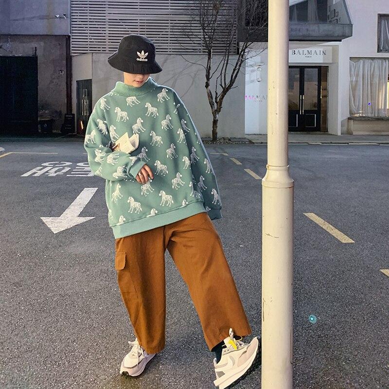 2019 nouveau japonais coton Simple hiver col haut Plus velours dessin animé zèbre imprimer hommes Version ample décontracté Couple pull