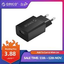 ORICO 미니 USB 벽 충전기 5V 1A 2A USB 여행 휴대 전화 충전기 EU 플러그 삼성 Xiaomi mi 8 화웨이 아이폰