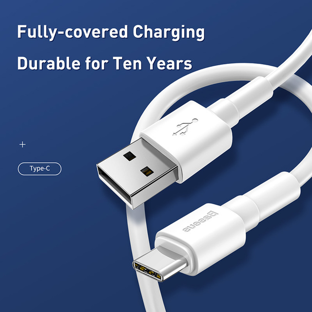 Baseus 3A USB Type C Cable for Xiaomi Redmi Note 9s 8 Pro Micro USB Cable Fast Charging Cable Nylon Charger USB Dara Cable Cord