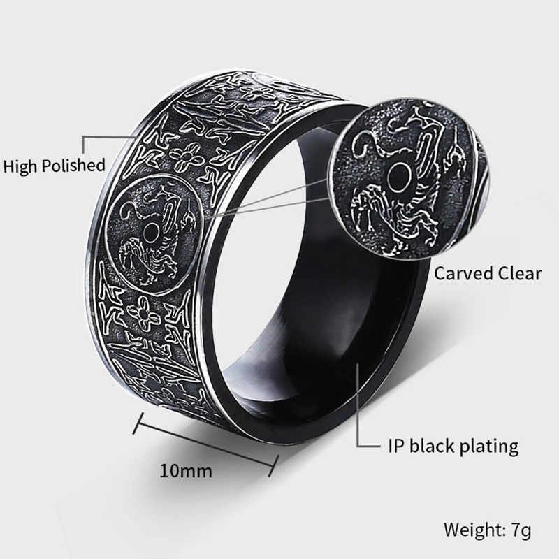 Викинг Дракон из нержавеющей стали мужское кольцо готическое черное кольцо Северная Европа Тор китайские стильные подвески ювелирные изделия Уникальный Bague Homme