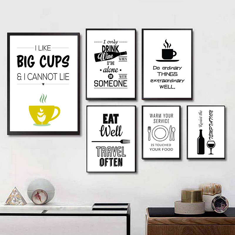 Black White Coffee Wall Art Canvas Painting Modern Minimalist Poster Wine Print Picture Dining Room Decoration Kitchen Decor Buy At The Price Of 5 06 In Aliexpress Com Imall