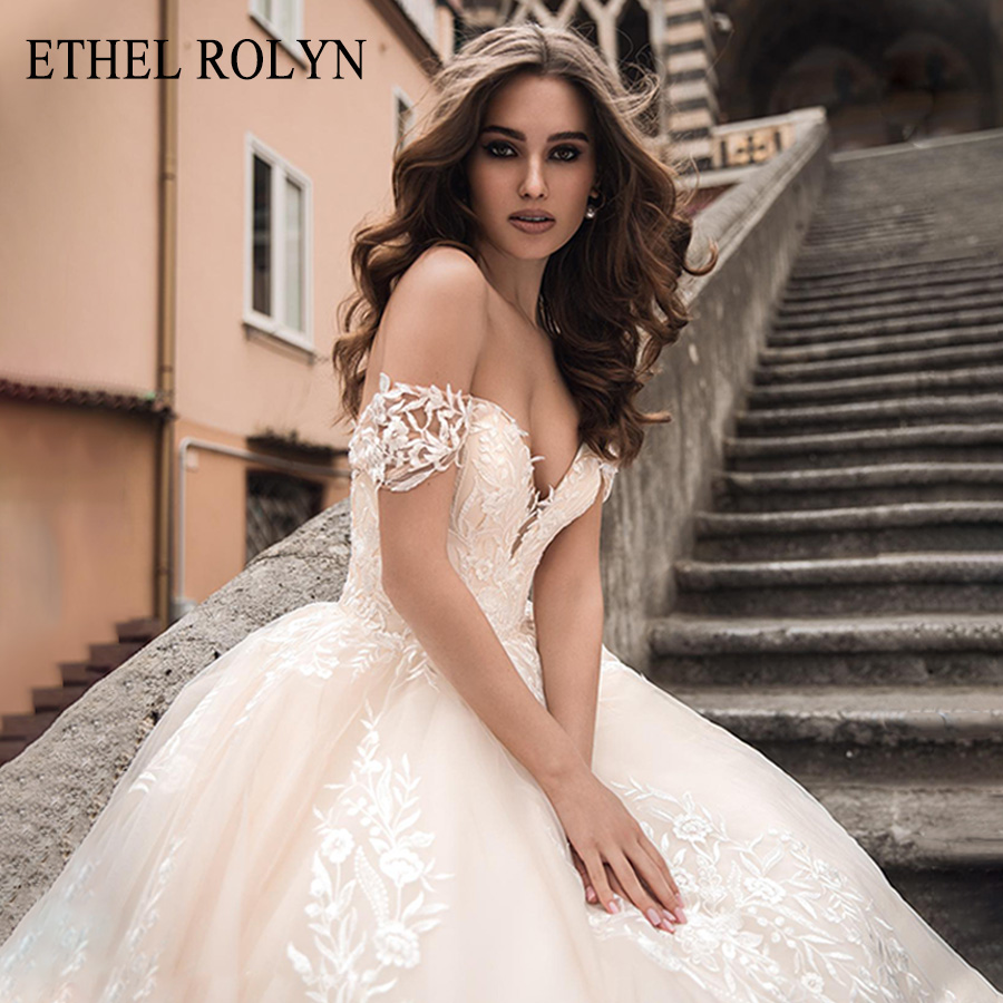 ETHEL ROLYN Sexy Sweetheart Princess Wedding Dress With Sleeves Romantic Appliques A-Line Bride Dresses Backless Wedding Gowns