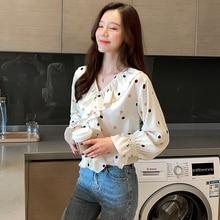 Autumn Korean Fashion Chiffon Women Blouses Flare Sleeve Womens Tops and Plus Size XXL Ruffles Beige Shirts