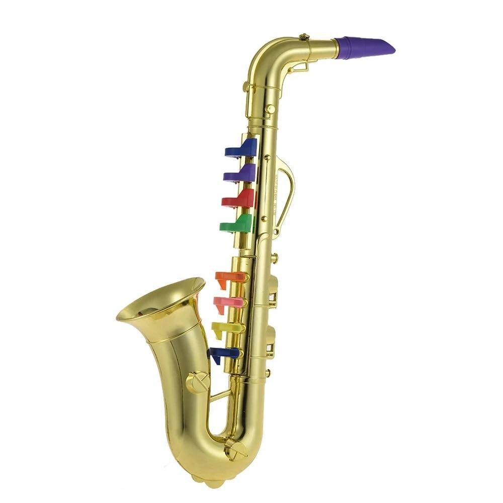 Base-Octave Elbow Saxophone Children Musical Instrument Toy Gold
