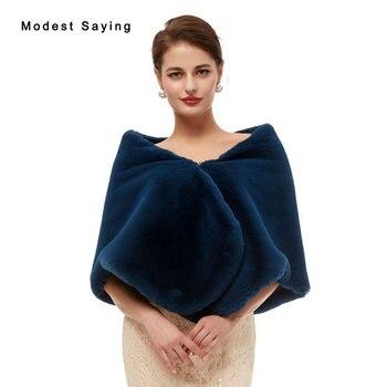Elegant Navy Blue Faux Fur Wedding Shrugs 2020 Fashion Bridal Shawl Women Party Boleros Stoles Warm Wraps Wedding Accessories