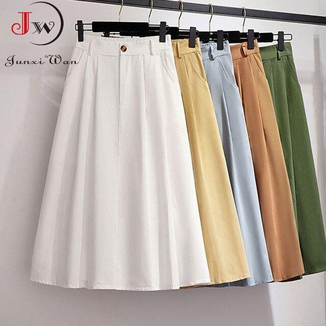 Women Cotton Skirt 2021 Spring Summer Preppy Style Solid Casual Elegant Pocket Elastic High Waist A-Line Midi Skirts Faldas 1