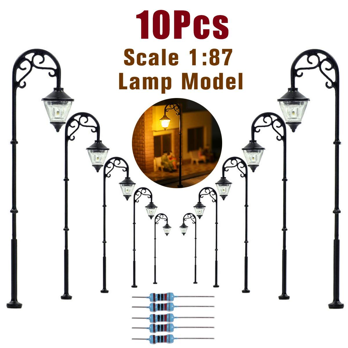 10pcs 1:87 HO Scale Retro Model Street Lamp Layout Lamppost Garden Landscape Light Railway Train Lamp Micro Landscape Decor