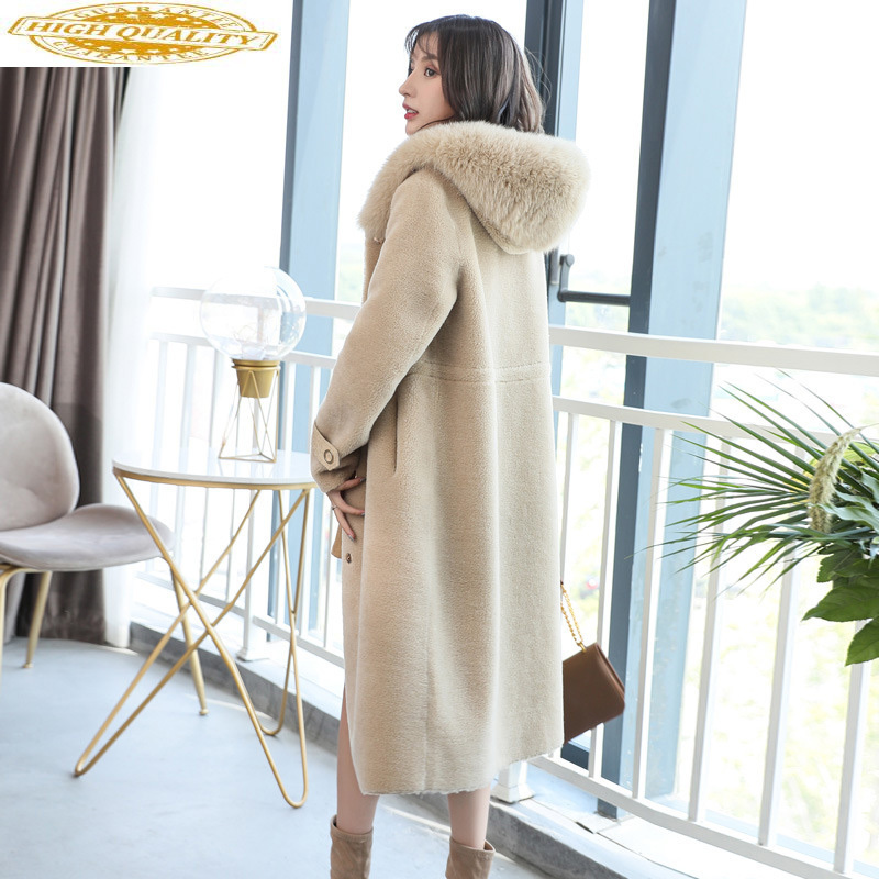 2020 Winter Real Fur Coat Women 100% Wool Jacket Fox Fur Collar Hooded Long Korean Overcoat Manteau Femme Hiver 1803