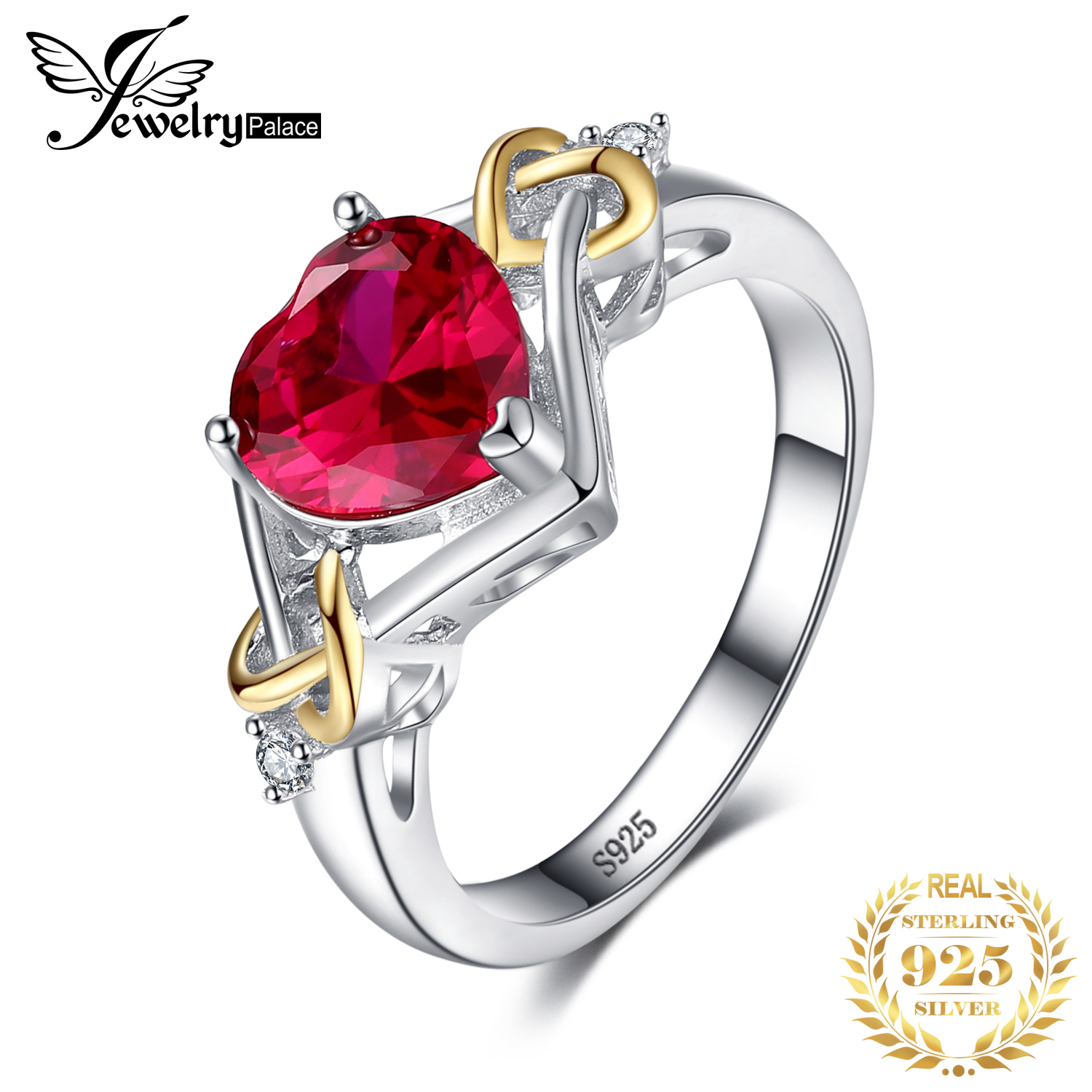 JewPalace Knot Heart 2.5ct Created Ruby Ring 925 Sterling Silver Rings For Women Engagement Ring Silver 925 Gemstones Jewelry