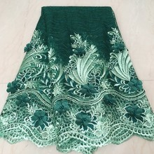 Tela de encaje francés africano verde de alta calidad, tejido de encaje de red de tul, bordado de 5 yardas, LHX24 5 de tela de encaje nigeriano 2020