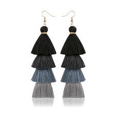 Bohemian fashion handmade long multi-layer tasseled Earrings European and American earrings wholesale female jewelry