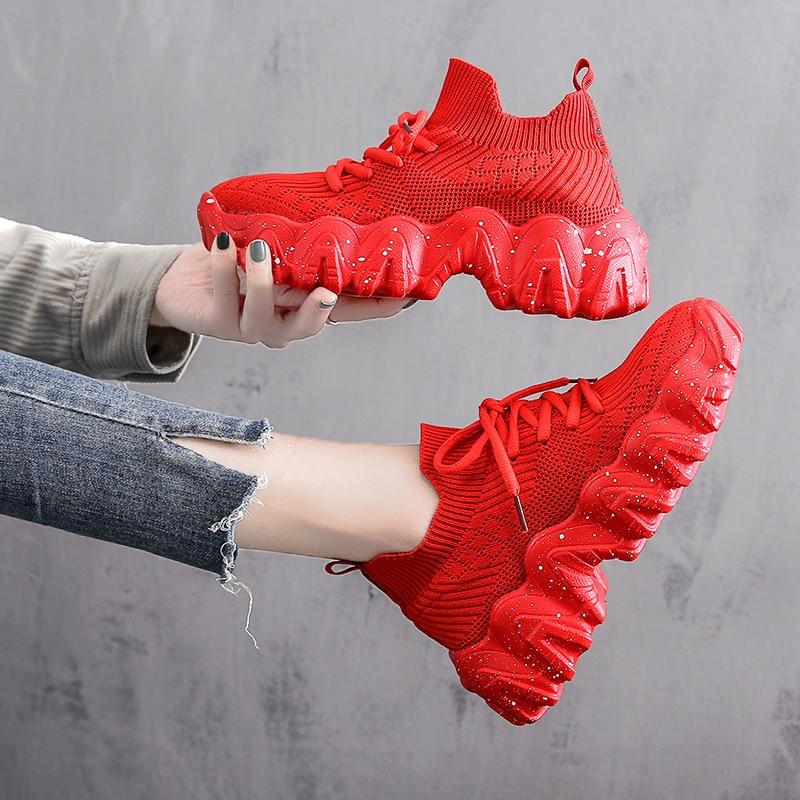 women's red high top sneakers