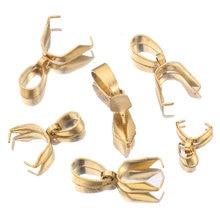 Lote de 10 unidades de cierres de Clip de acero inoxidable dorado, Conector colgante de cuentas, accesorios para collar DIY, suministros de joyería