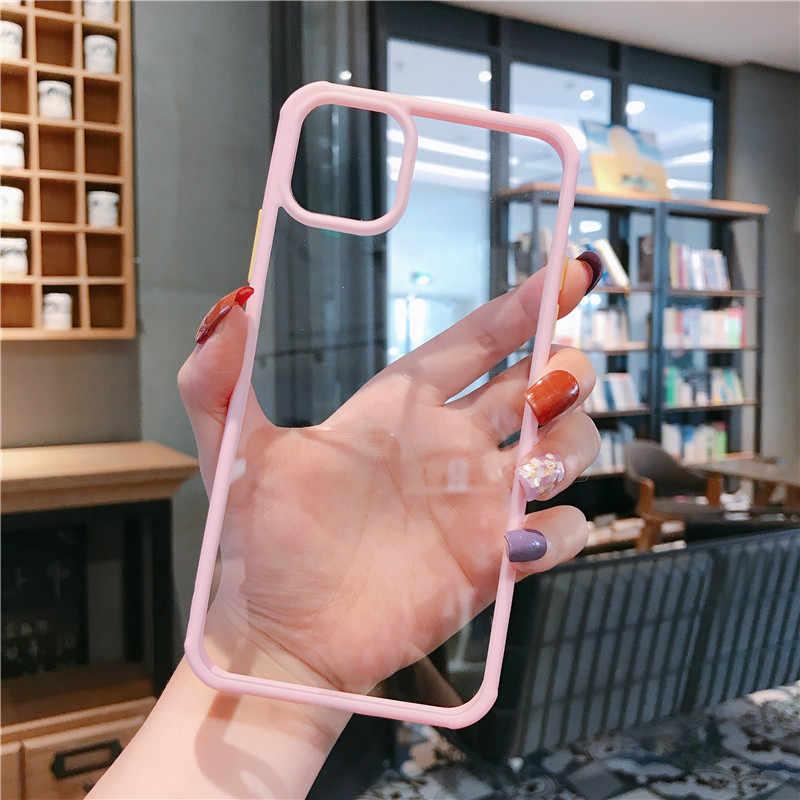 耐衝撃キャンディーカラーバンパー電話ケース iPhone 11 11 プロマックス 7 8 6 6S プラス X XR XS 最大透明軟質アクリル裏表紙
