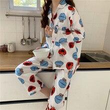 Big Size M-5XL Pajamas For Women Flower Print Cartoon Long Sleep Lounge