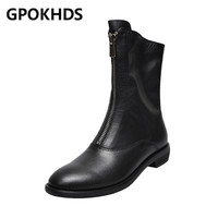 GPOKHDS 2020 women ankle boots soft Cow leather winter short plush zippers black color round toe high heels boots party dress