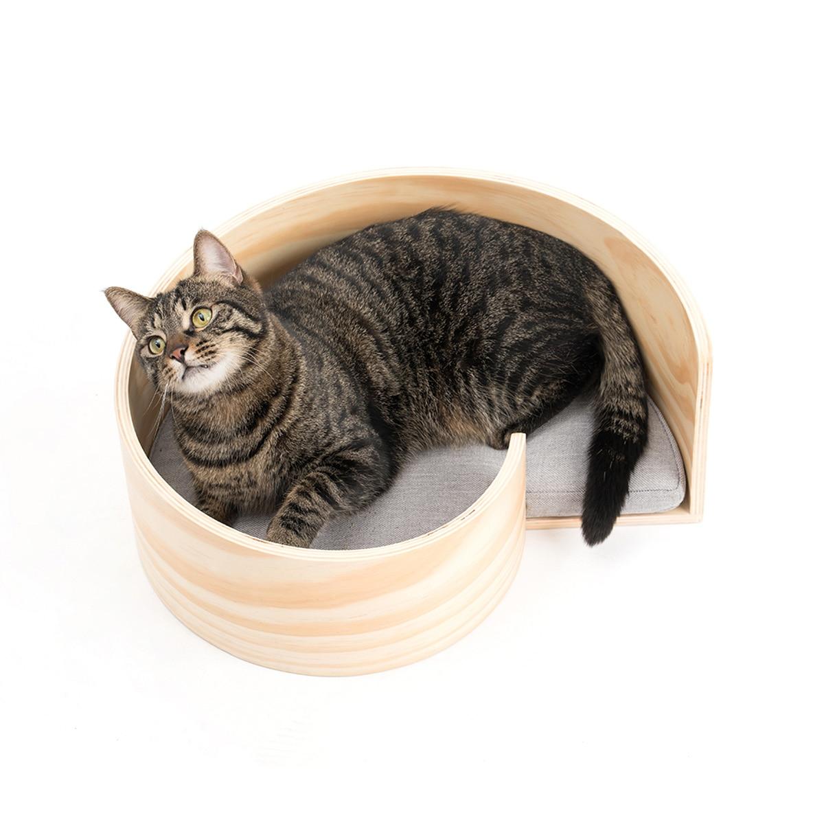 Wooden Cat Litter Pet Supplies  Bed Small House Dog Kennel Kedi Evi Blanket Beds