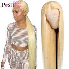 613 honig Blonde Farbe Remy Brasilianische Gerade Spitze Front Menschliches Haar Perücke 8 - 30 inch 1B 613 Ombre Frontal perücken für Schwarze Frauen