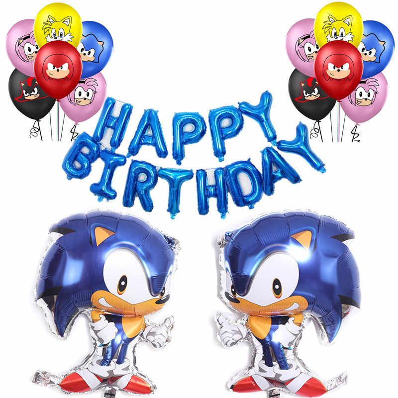 Sonic The Hedgehog Theme Foil Balloon Boy Girl Birthday Party Decorations Number Balloons Set Baby Shower Party Supplies Aliexpress