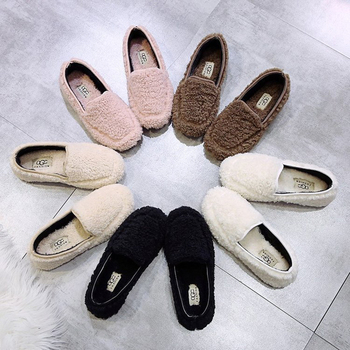 Furry Shoes Women Outdoor Fashion Flats Shoes Hot Sale Soft Comfortable Slip on Loafers Walking Footwear Woman Zapatos de mujer cresfimix zapatos de mujer women fashion pu leather slip on flat shoes female soft and comfortable black loafers lady shoes