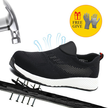 Safety Shoes Steel Toe Work Shoes For Men Anti-smashing Construction Sneaker with Mesh Lightweight Breathable new exhibition fashion safety shoes men s breathable mesh anti smashing piercing lightweight steel toe cap wear site work shoes