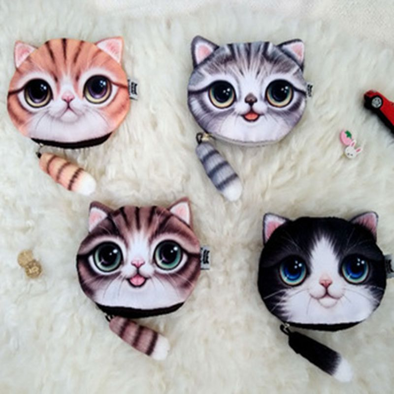 Cute Coin Purses Wallet Ladies 3D Printing Cats Dogs Animal Big Face Change Fashion Cute Small Zipper Bag for Women Pouch