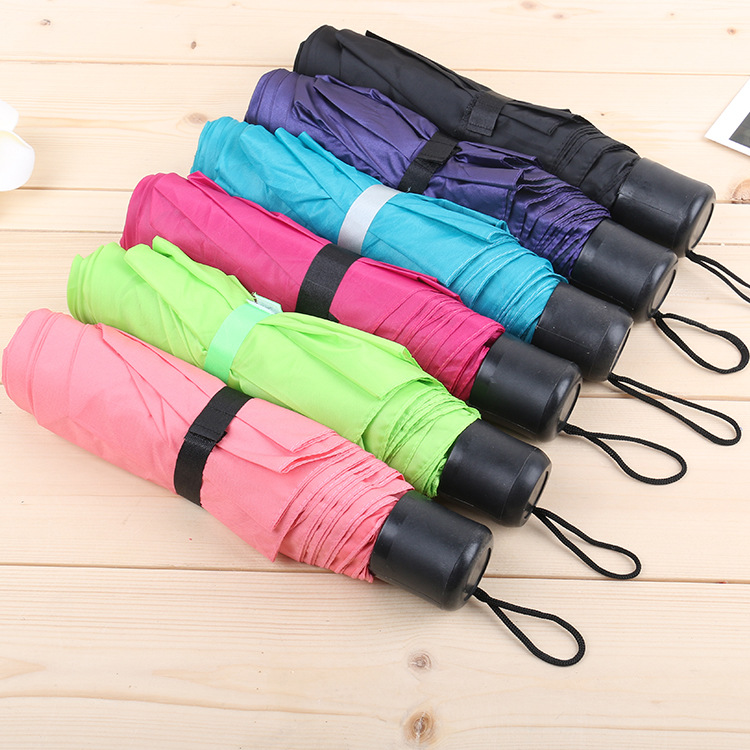 8K Portable Mini Folding Umbrella Three Fold Couples Colored Cloth Color Umbrella Manufacturers Special Offer Gift Umbrella Whol