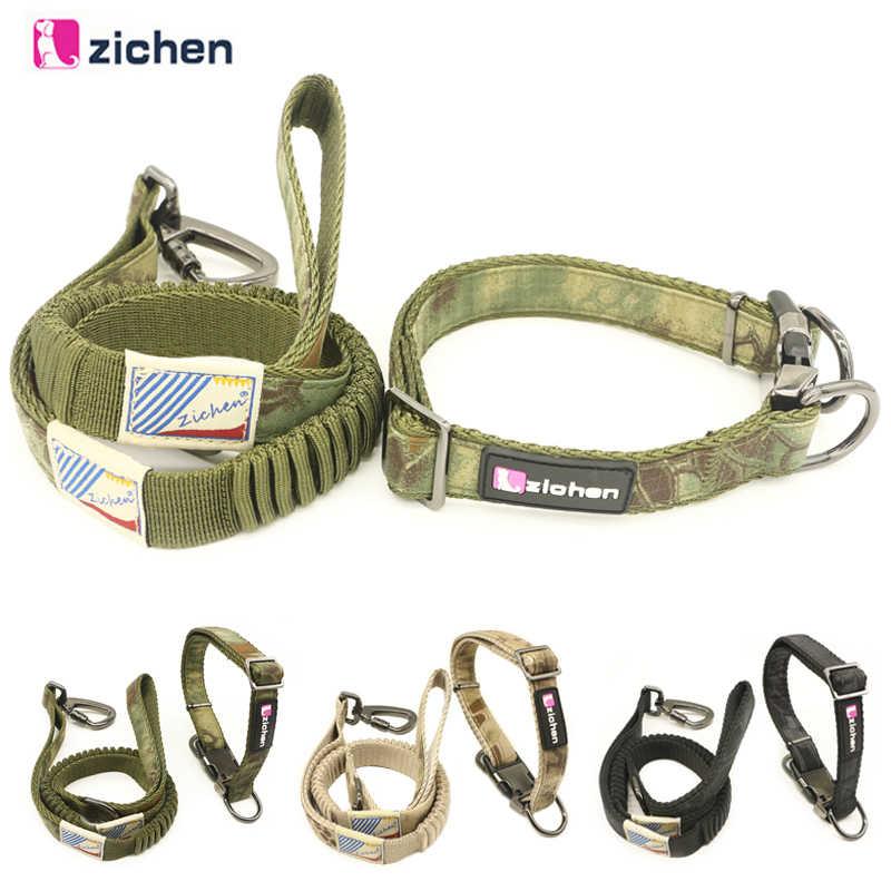 Собачий поводок, ошейник, набор, буферная эластичность, короткий поводок, камуфляжный регулируемый поводок для тренировки собак, для средних и больших собак, L