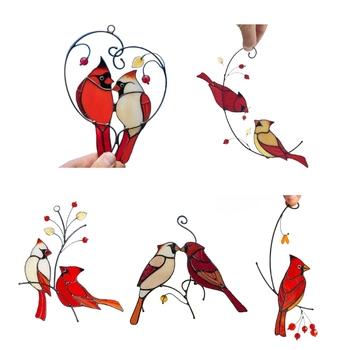 Piękne gałęzie czerwone ptaki witraże ozdoby odkryty ogród duszpasterski tanie i dobre opinie CN (pochodzenie) G32C9FF502119-1
