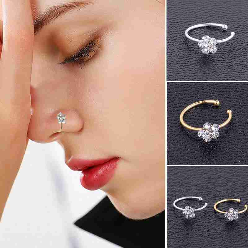1pc Flower Small Thin Rhinestone Nose Ring Gold Sliver Studs Faux Body Nail Clip Girls Fake Septum Piercing Crystal Hoop Jewelry Body Jewelry Aliexpress