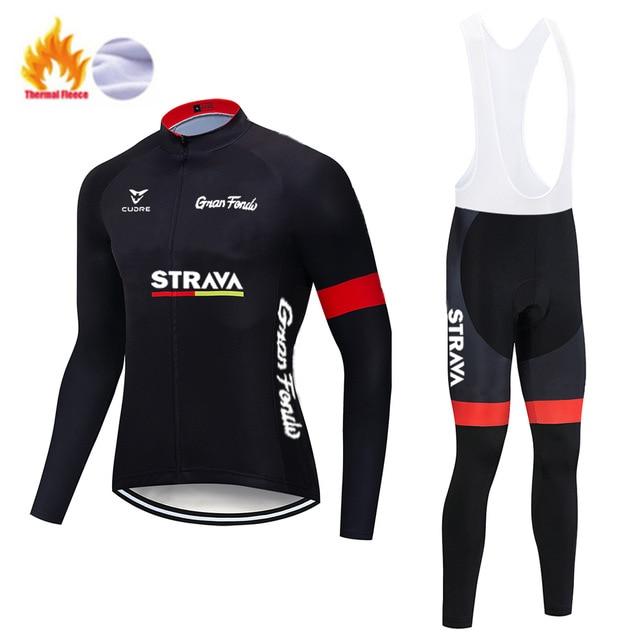 STRAVA – ensemble polaire thermique pour homme, tenue de cyclisme, de Sport, d'équitation, vtt, avec bretelles et pantalon, nouvelle collection hiver 1