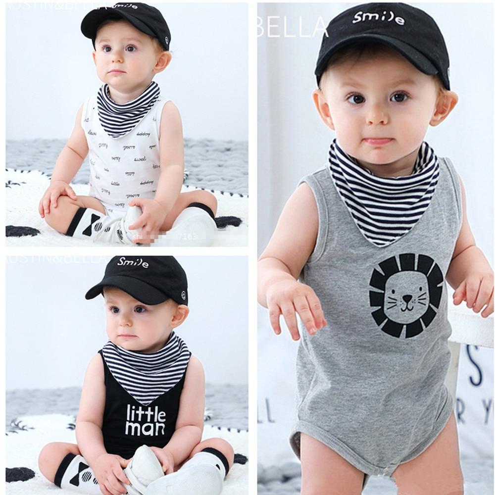 American Printed Baby Boy Girl Sleeveless Romper Jumpsuit Bodysuit