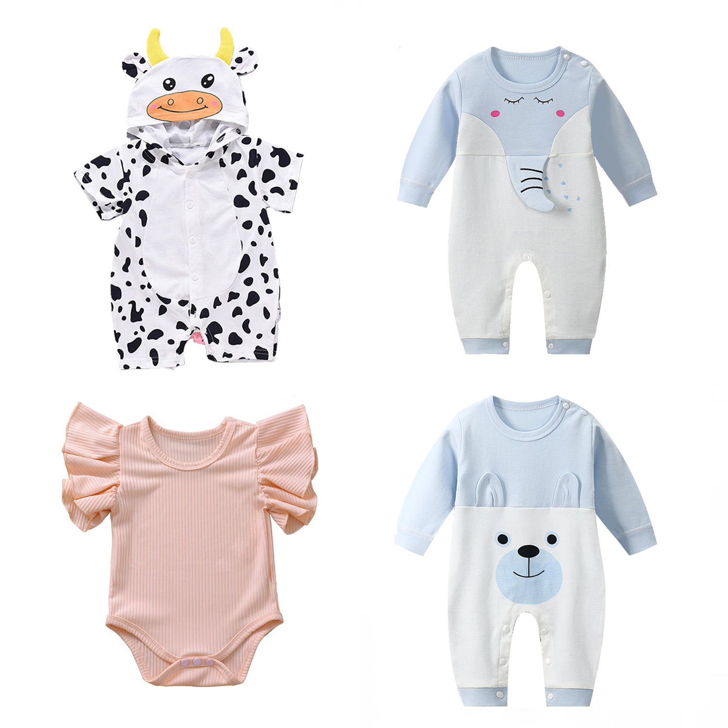 Infant Jumpsuit Summer Romper Animal Print Girl Boy Cotton Suit Newborn Climbing Cartoon Rompers Cheap Stuff Baby Products