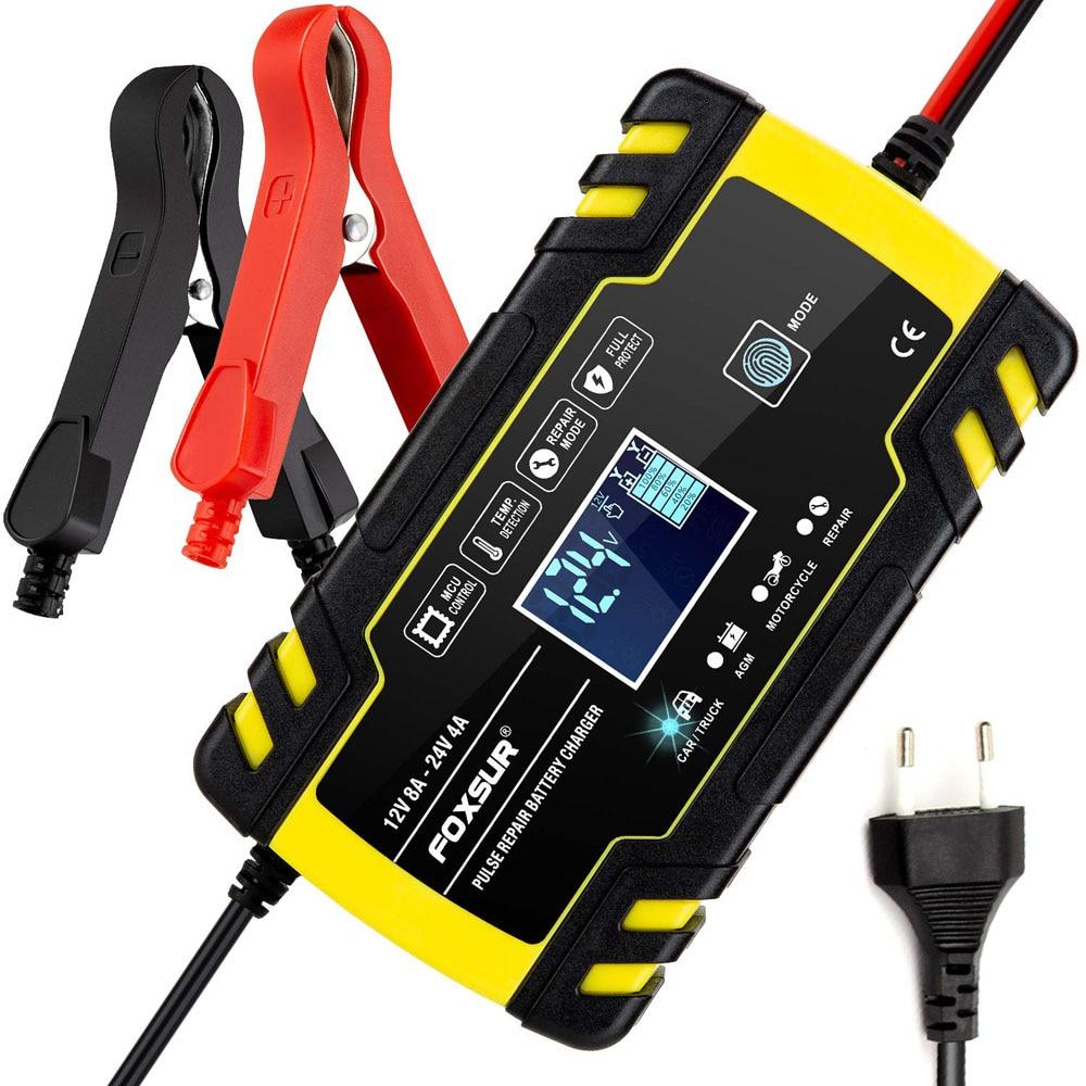 Импульсное зарядное устройство Foxsur 12V 8A 24V 4A, с ЖК-дисплеем, зарядное устройство для мотоциклов и автомобилей, гелевые батареи Agm для свинцово...