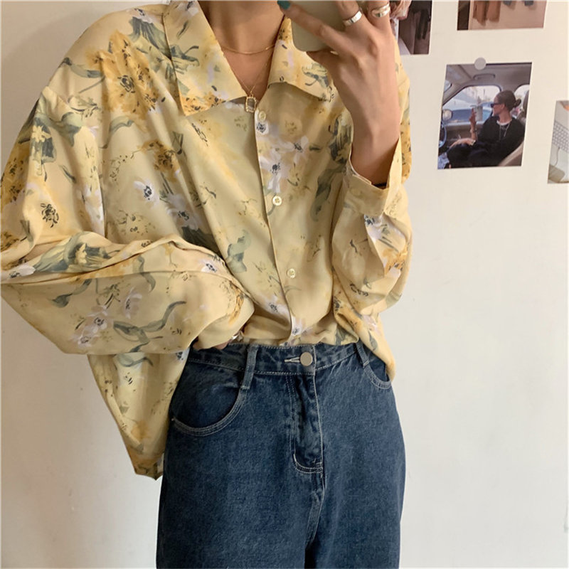 Alien Kitty Office Lady Fashion Lovely Simple Print Flowers Chic 2020 Loose New Lapel Women All Match Elegance Vintage Shirts