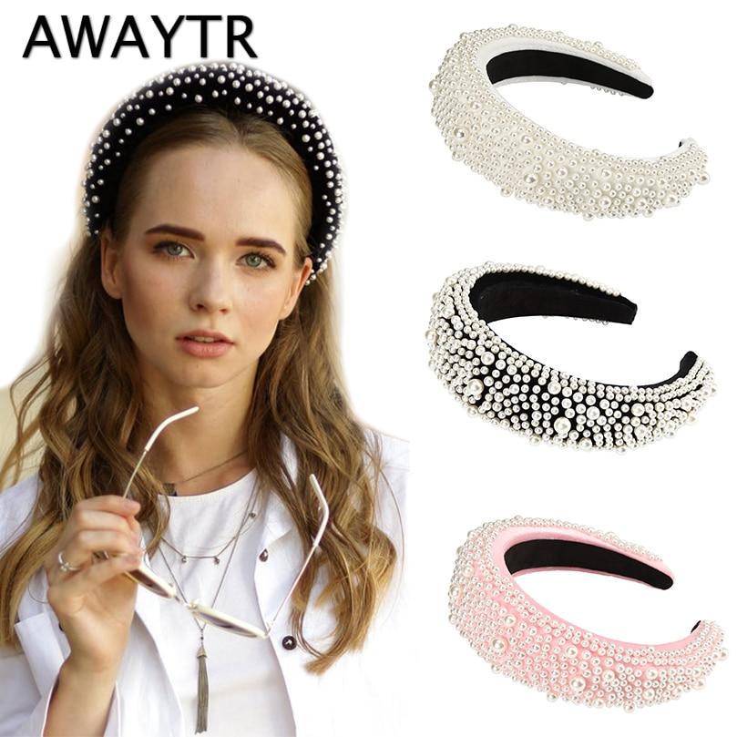 AWAYTR New Look Luxury Autumn Winter Velvet Full Pearl Headband For Women Padded Hairband Ladies Retro Bezel Hair Accessories