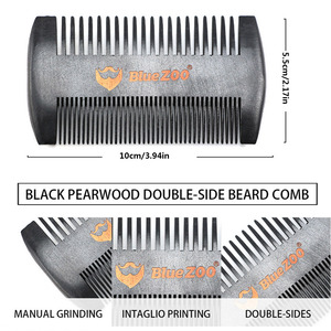 Image 5 - New 3Pcs/lot Natural Beech Styling Tools Comb Beard Shaping Tool Styling Template With Small Scissors Beard Care Grooming Kit
