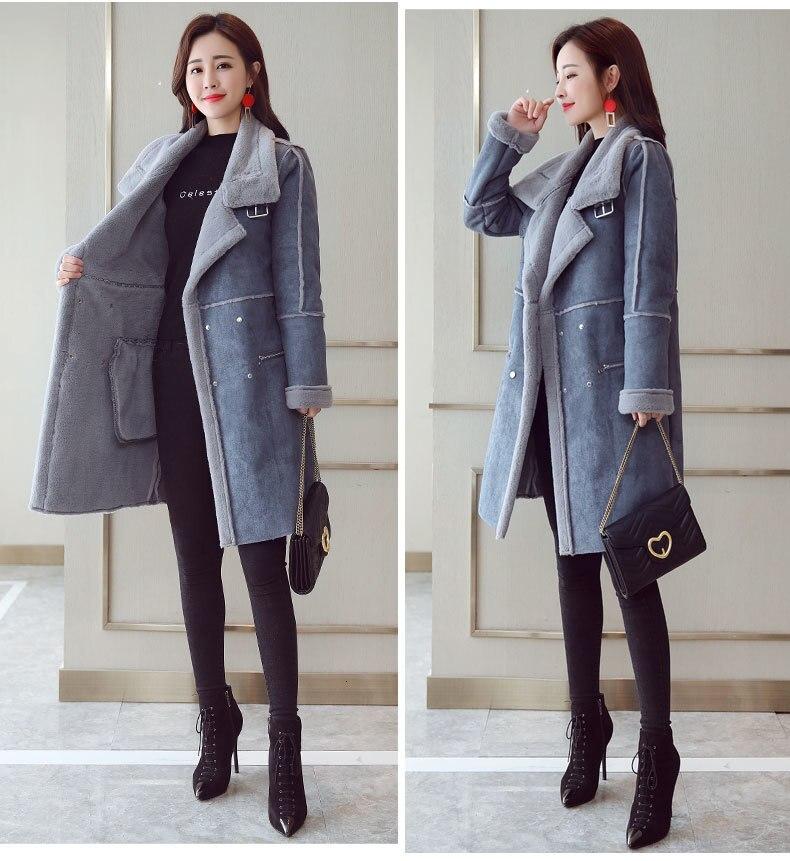 Inverno longo camurça do falso jaqueta de